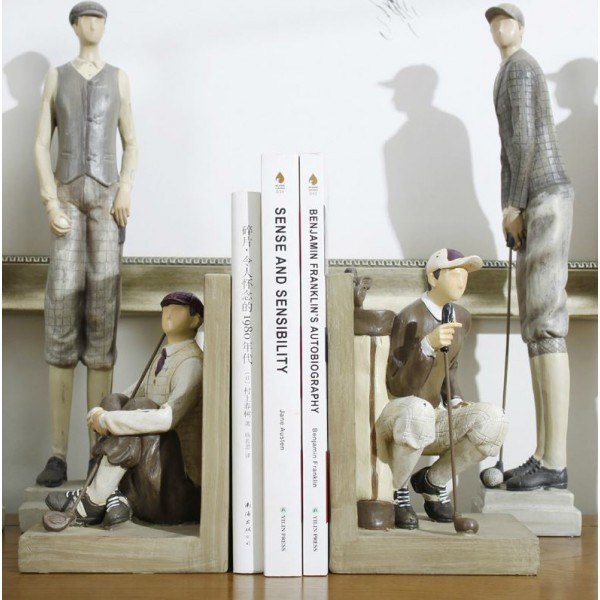 American Retro Golfer Resin Bookend