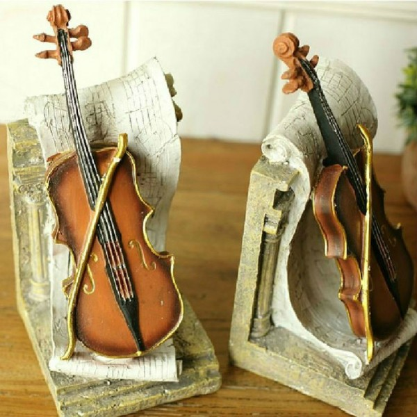 Continental Retro Violin Resin Bookend