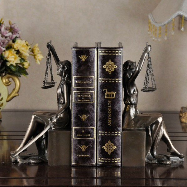 Retro Lady  Justice Resin Bookend