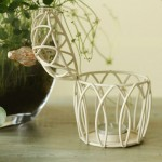 Continental White Birdcage Iron Candle Holder
