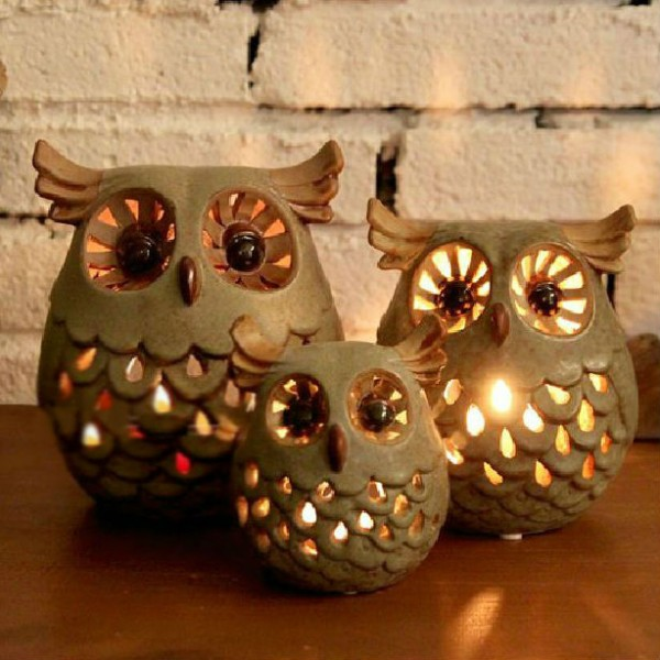 Owl Ceramic Candle Holder