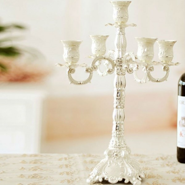 European Alloy Silver-plated Candle Holder