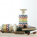 Hexagonal Color-striped Ceramic Candle Holder