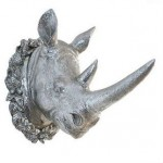 Resin Faux Rhinoceros Head Wall Ornament