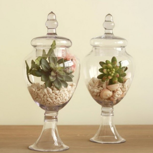 American Transparent Glass Jar with Plush Lotus