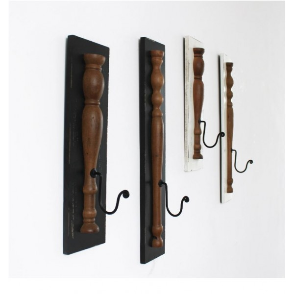 Retro Elongated Wooden Hooks Set