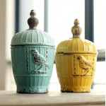 Retro Glazed Bird Ceramic Jar