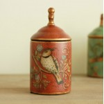 Retro Painted Birds and Flowers Ceramics Jar