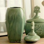 Retro Green Glazed Ceramic Jar