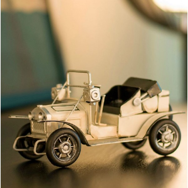 Retro Steam Car with Cover Iron Model