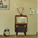 90s Retro Television with Antenna Iron Miniature