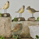 Bird on Tree Stump Resin Ornament Set
