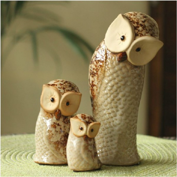 Owl Family Ceramic Ornament Set