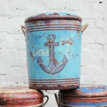 Vintage Oceanic Style Storage Stool Set