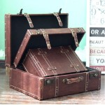 Wooden and Leather Suitcase Set