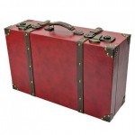 Maroon Red Synthetic Leather Suitcase