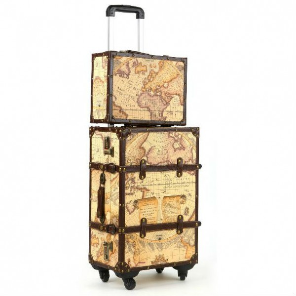 Map Patterned Luggage Set