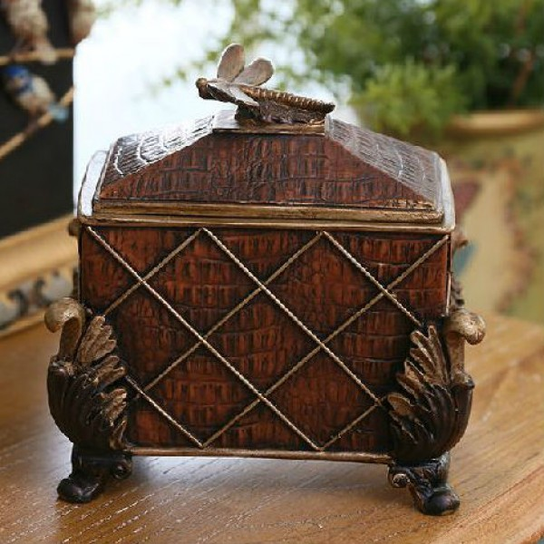 Bronze Dragonfly Rhombus Patterned  Jewelry Box