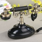 European Antiqued Black and Gold Telephone