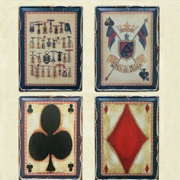 American Zakka Style Poker Tinplate Sign