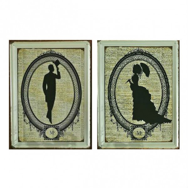 Lady and Gentleman Sketch Tin Plate Painting Set