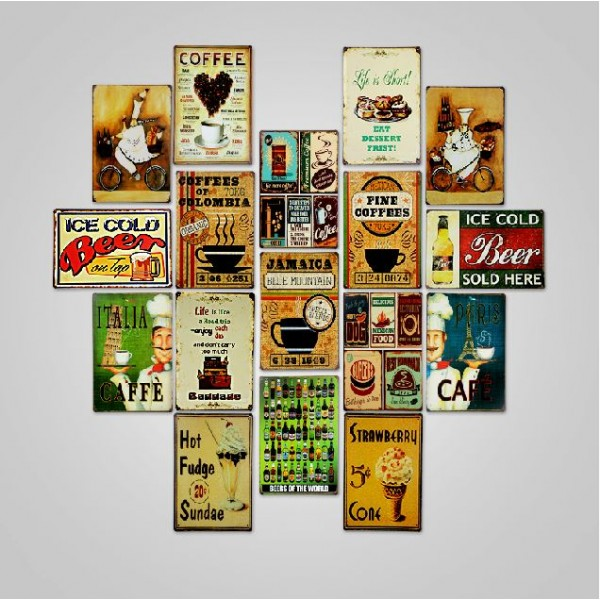 Bar Cafe Restaurant Style Tinplate Painting Set