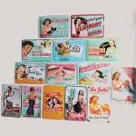 Advertising Girl Poster Tinplate Painting Set