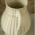 White Relief Ribbed Ceramic Vase