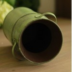 Green Metallic Double-Handle Flower Barrel