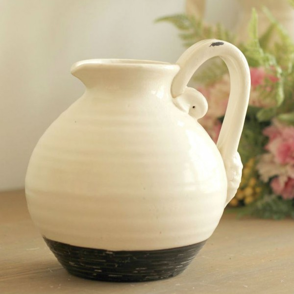 Retro White and Black Ceramic Vase