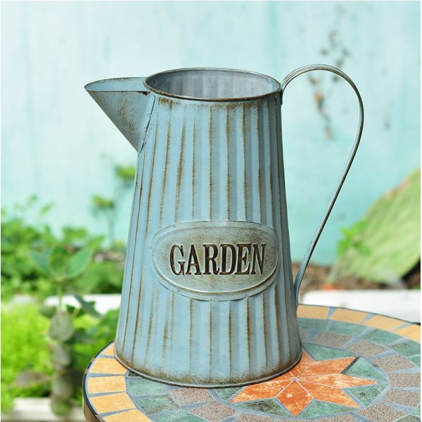 French Zakka Style Garden Metallic Flower Barrel