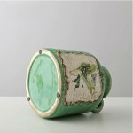 Emerald Green Butterfly Pattern Ceramic Vase