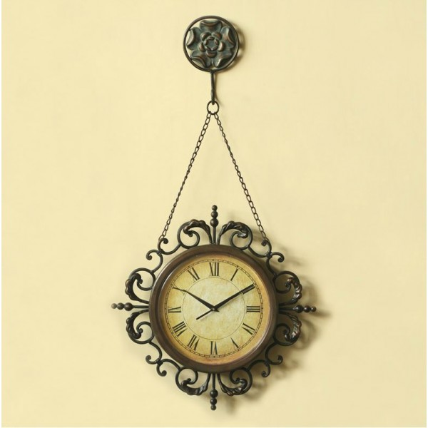 Iron Chain Hanged Metallic Wall Clock