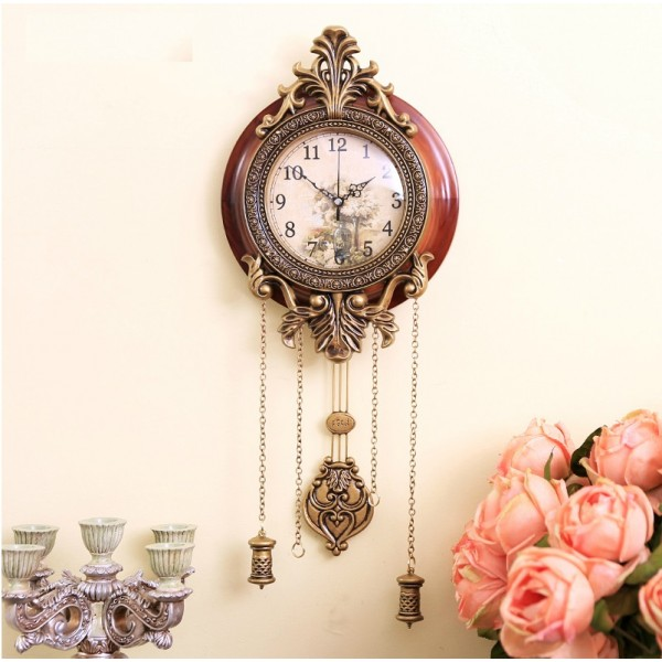 Wooden Vintage Wall Clock With Pendulum