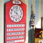 American Retro Wooden Calendar with Clock