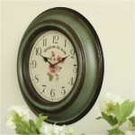 Emerald Green Antiqued Wall Clock