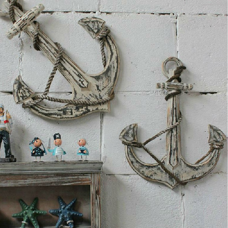 Mediterranean-style Antiqued Anchor Wooden Wall Decoration