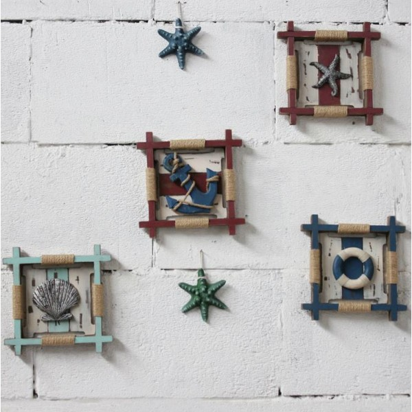 Mediterranean-style Square Wooden Wall Decoration Set