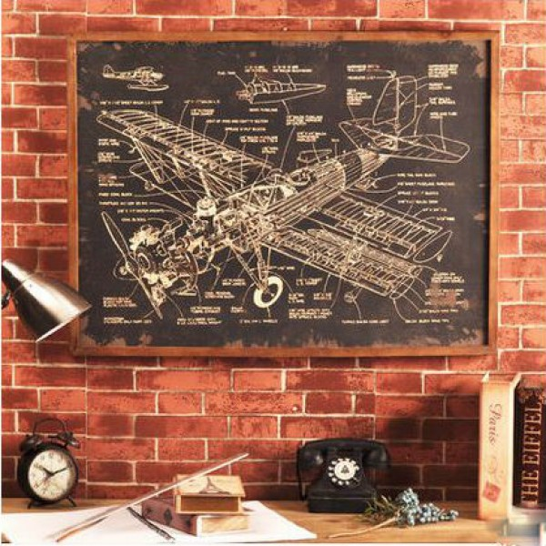 American-style Aircraft Design Draft Wall Decoration