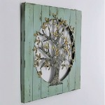 Wooden and Metallic Tree Wall Ornament