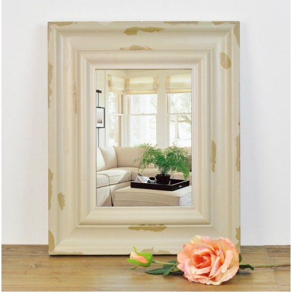 Country Style Antiqued Wooden Mirror