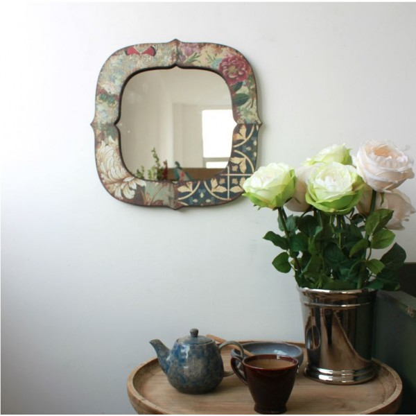 Floral Antiqued Wooden Mirror